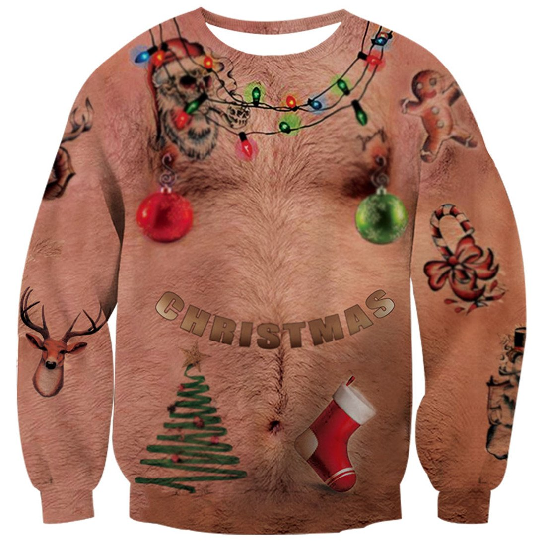 3d762d5c8 Galleon - Uideazone Men Women Printed Ugly Christmas Chest Hair T Shirt  Funny X-mas Party Graphic Tee Clothes Plus Size Funny Asia XXL= US XL