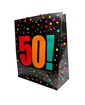 Large Mens Gift Bag Holder Happy 50th Birthday Age Party Presents Carrier Wrap