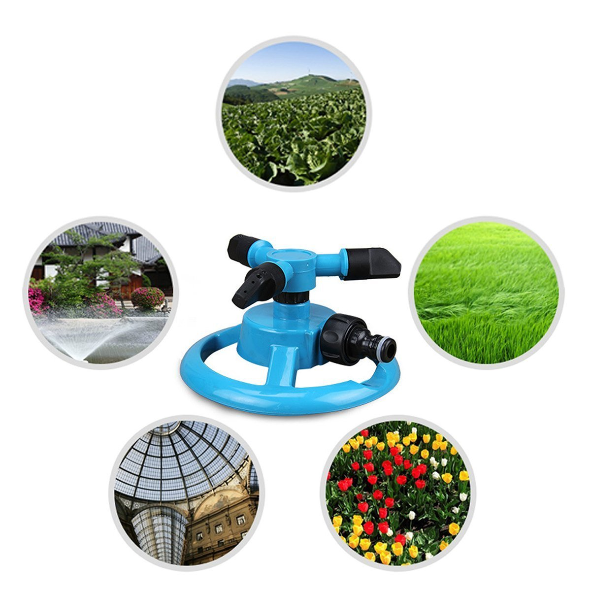 Rasen oder zum Spielen f/ür die Kinder Automatisch drehender Rasensprenger mit drei Armen f/ür Garten von PriMi