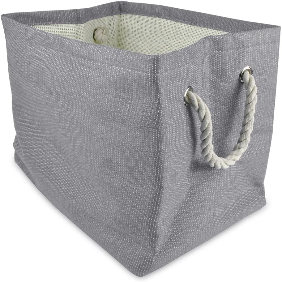 "DII, Woven Paper Storage Bin, Collapsible, 17x12x12"", Solid Gray"