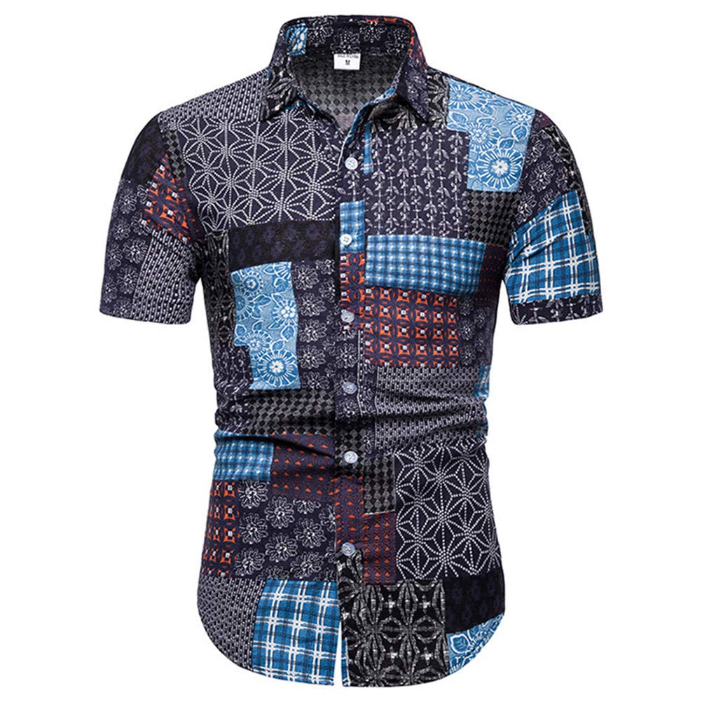 XJLE Shirt Summer Thin Section Printed Ethnic Style Casual Beach Short Sleeve Men