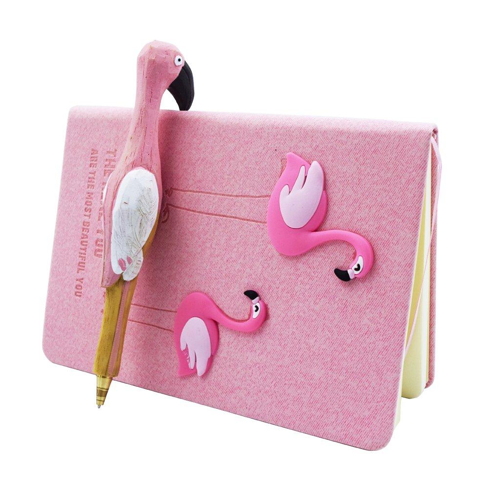 Funkeet Unicorn Notebook Set Journal Gel Pen Set Handmade Stationery Back to School Supplies Traveler Diary Unicorn Gifts for Girls Kids (Flamingo-C)