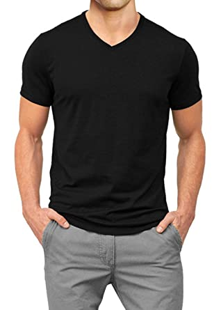 9c5ddb61804967 Muscle Fit Basics Men's Heavyweight V Neck Fitted Plain T-Shirt - 5 Colours  - S M L XL XXL