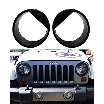 Bolaxin [Upgrade Clip in Version] Black Angry Bird Style Headlight Head Lamps Cover Ring Trim for 2007-2020 Jeep Wrangler JK & Wrangler Unlimited: Automotive