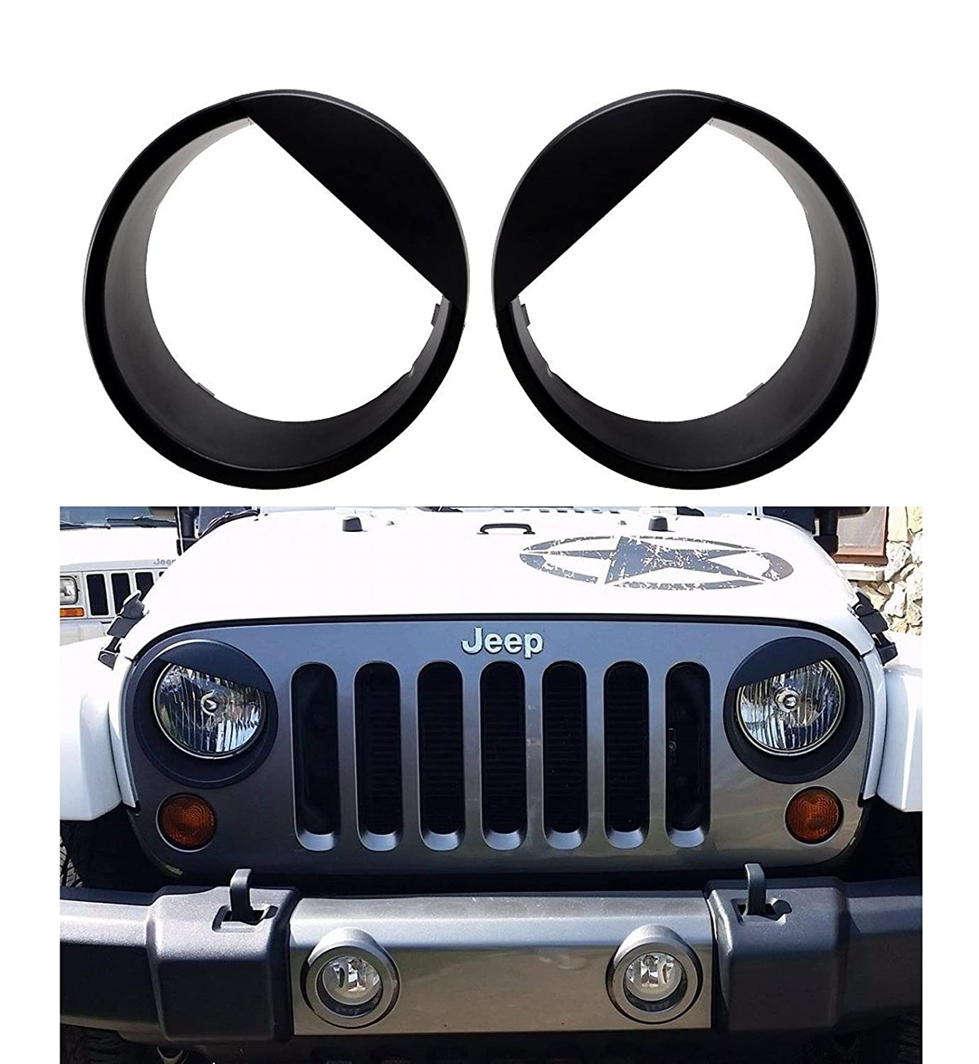 Upgrade Clip in Version Bolaxin Black angry bird style Headlight Trim Head Lamps Cover Ring Trim for 2007-2018 Jeep Wrangler JK /& Wrangler Unlimited