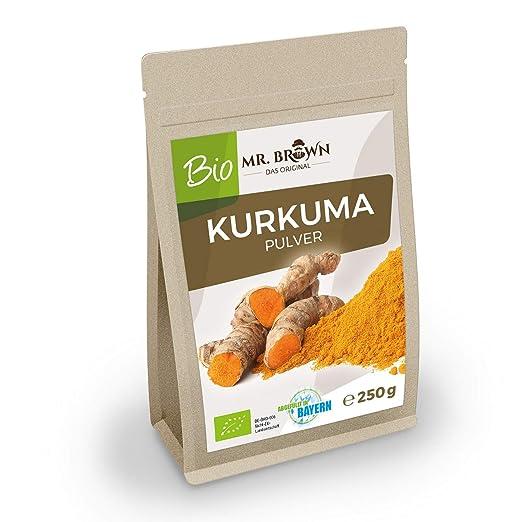 Mr. Brown bio kurkuma 250 g | de la India | Curcuma polvo | kurkuma, gemahlen | Especias Cocinar y Hornear, cultivo ecológico): Amazon.es: Salud y cuidado ...