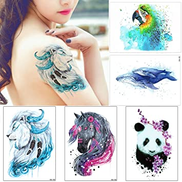 2ebf1f963d34a Amazon.com : 5 Sheets Watercolor Animal Temporary Tattoo Stikcer for Women  Men Body Art : Beauty