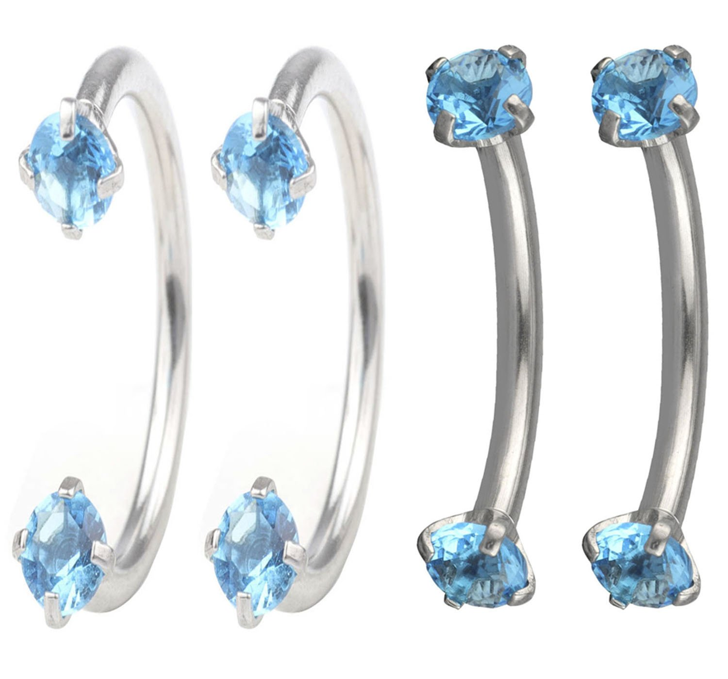 FB 16G 8mm Stainless Steel Cubic Zirconia Gem Internally Thread Curved Barbell Eyebrow Nose Ring Piercing Jewelry.