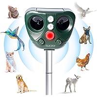 TLICLXY Repelente de Animales Ultrasónico, Impermeable Repelente para Gatos 5 Modo Ajustable, Carga Solar y USB, con…