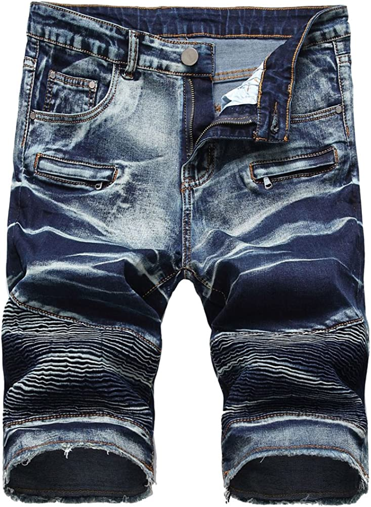 Lavnis Men's Casual Denim Shorts Classic Fit Ripped Jeans Biker Shorts