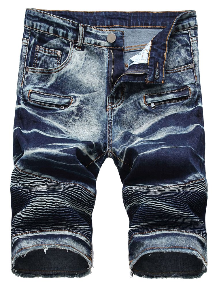 Vogstyle Men's Casual Denim Shorts Classic Fit Ripped Jeans Biker Shorts 34