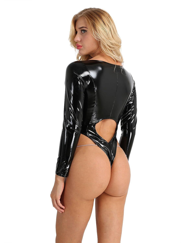 Freebily Femme Body Justaucorps Ouvert Manches Longues en Cuir Zippé  Bodysuit Jumpsuit Combinaison de Danse Sport Clubwear Lingerie Maillot de  Bain M XL  ... 16f1ea97f3d