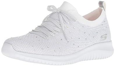 Skechers Women's Ultra Flex Sneaker White/Silver: Buy Online ...