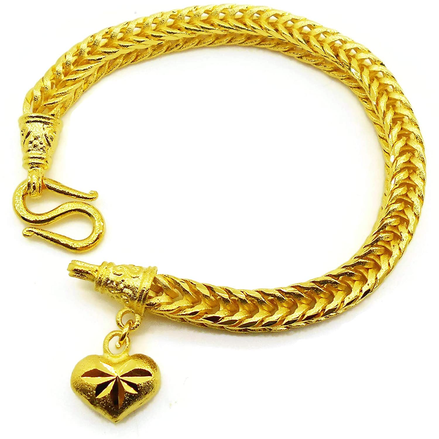 Braid Gorgeous Heart Charm Thai Baht Yellow Gold Plated Filled Bangle 23k 24k Bracelet Jewelry 7 inch