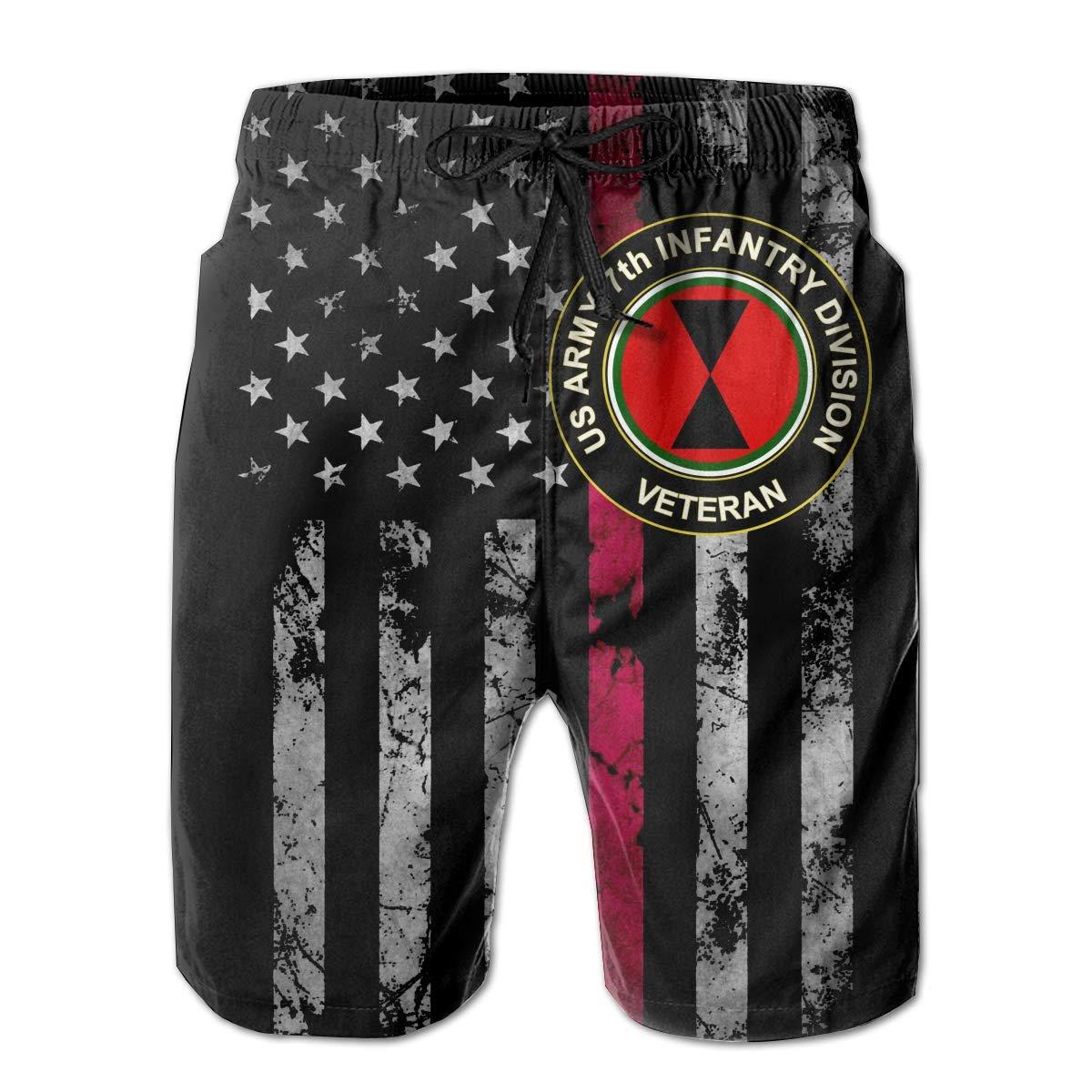 US Army 7th Infantry Division Veteran Mens Beach Shorts Swim Trunks Casual Shorts Sports Shorts