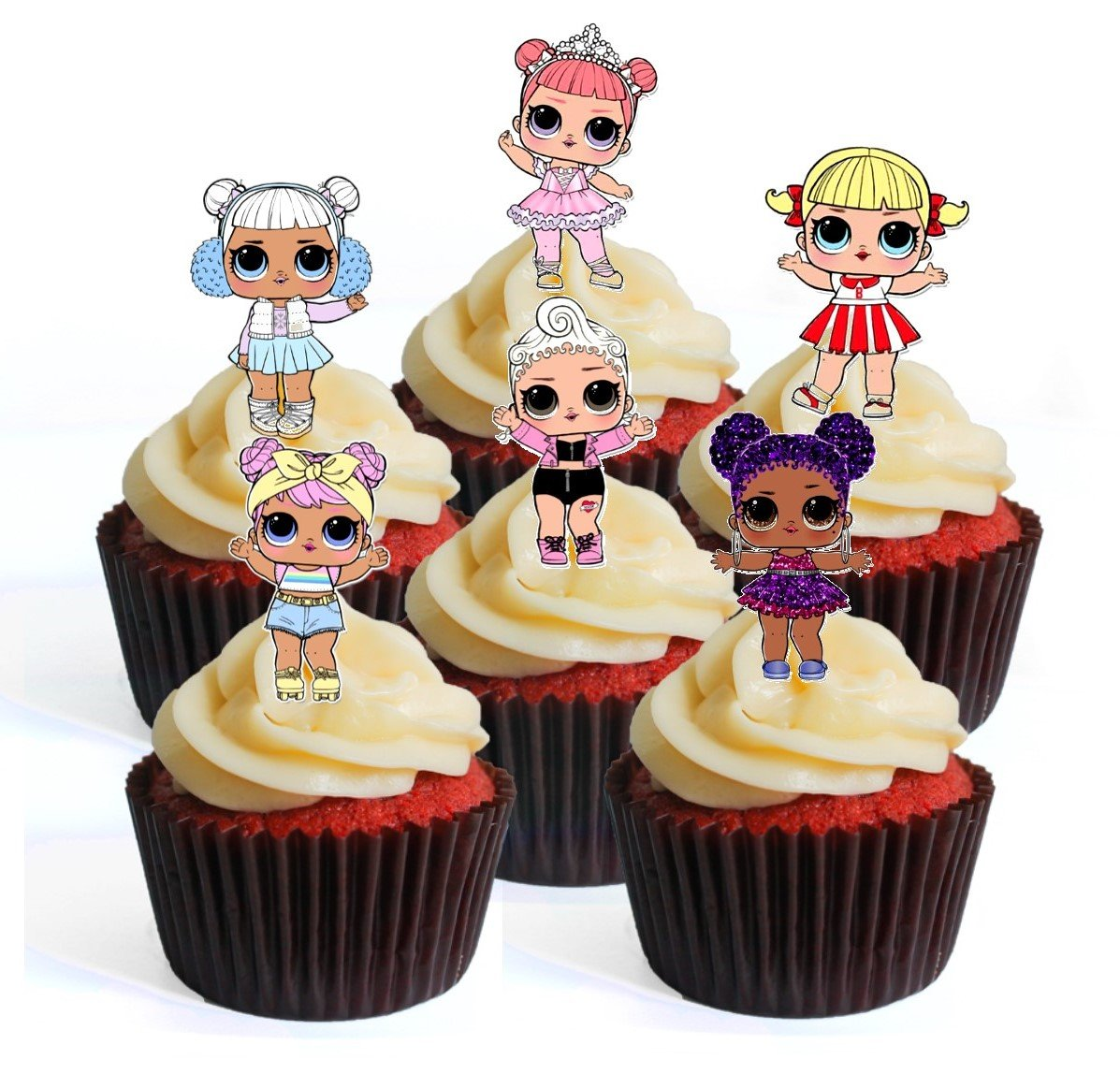 12 LOL Surprise Doll 3 PRECUT Edible Cupcake Toppers