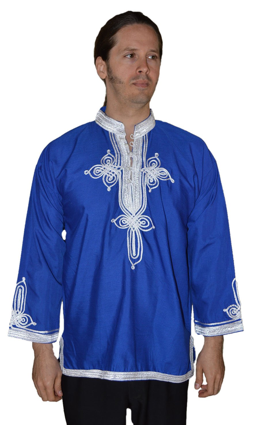 Marrakesh Men Tunic Caftan With White Tread Embroidery Breathable X-large Blue