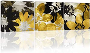 Black and White Golden Flower Wall Art Decor Abstact Canvas Painting Kitchen Prints Pictures for Home Living Dining Room