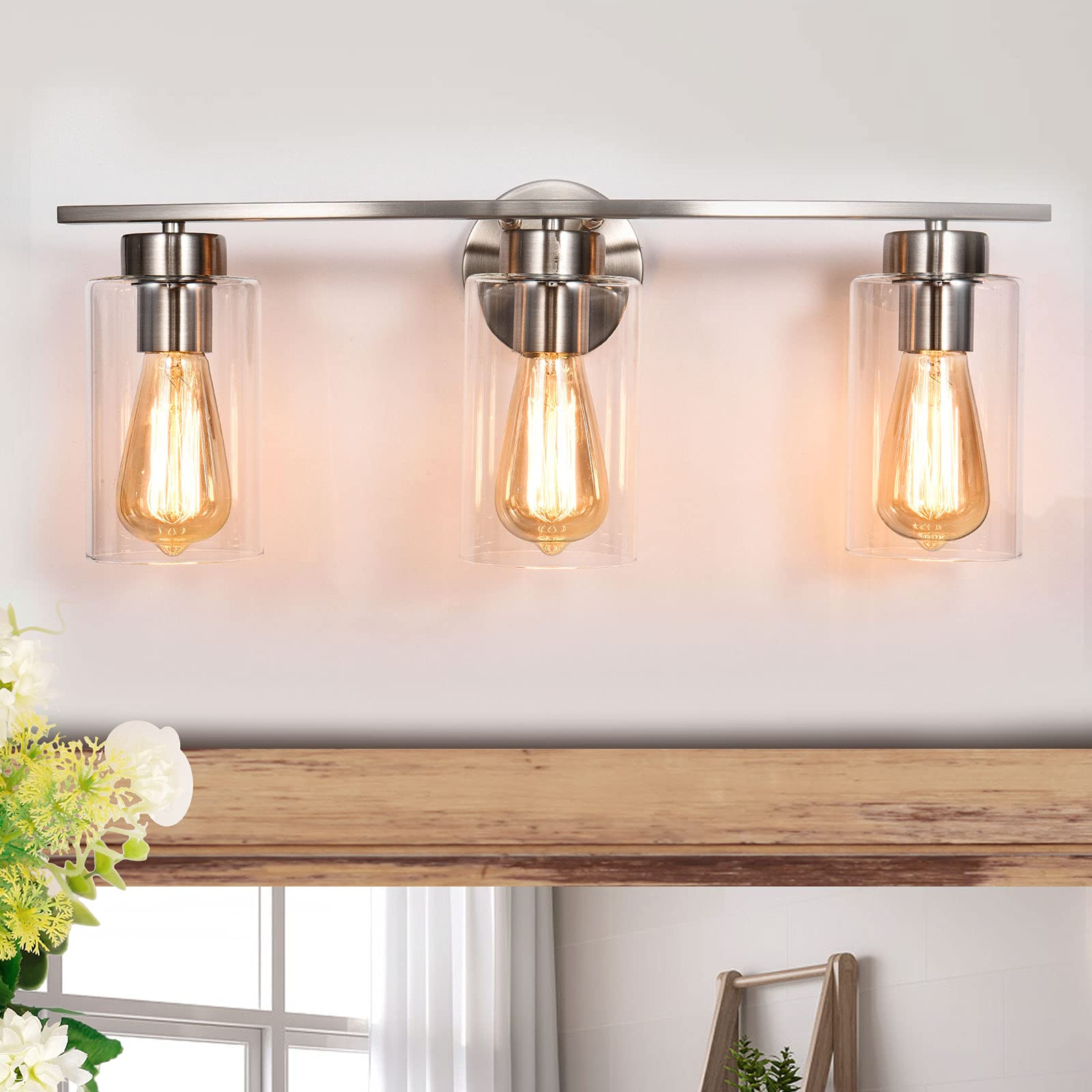 EDISLIVE 3-Light Bathroom Vanity Light Fixtures Nickel Wall Light Sconce with Clear