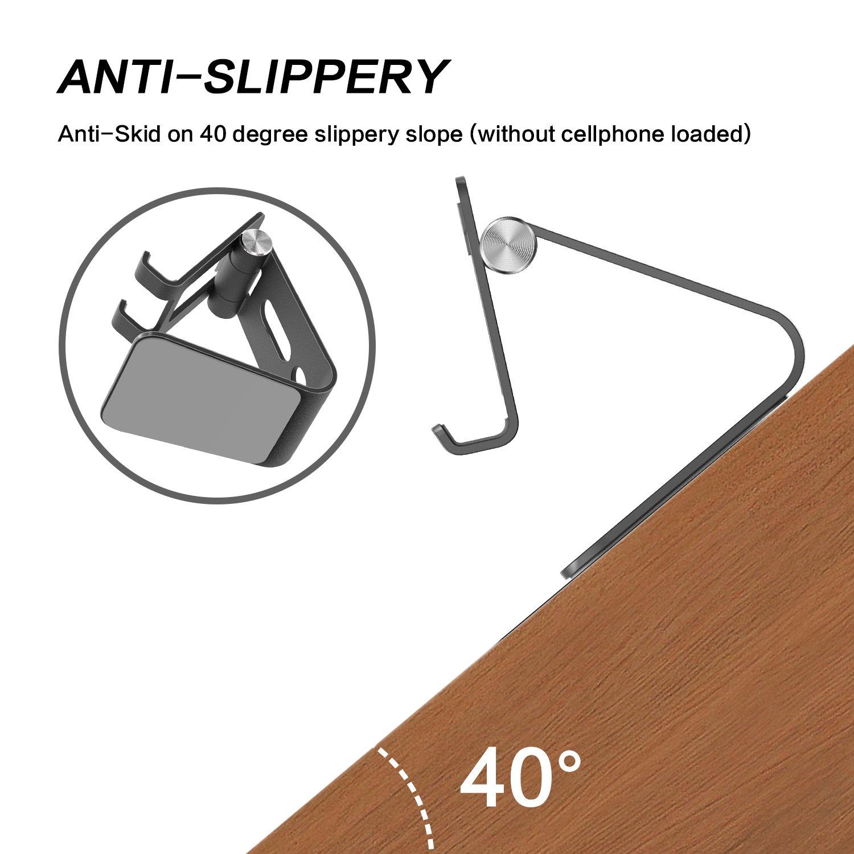 Noir OMOTON Support Multi-Angles R/églable en Alliage d/'Aluminium Support T/él/éphone Portable pour iPhone Se// 7 Plus// 7//6 Plus// 6S// Samsung Galaxy Note 8// Samsung Galaxy S8// S8 Plus//Honor 9