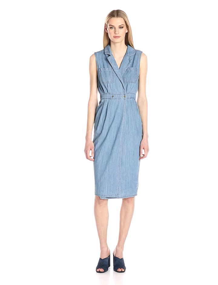 f947079e2845 MINKPINK Women s Utility Wrap Chambray Midi Dress