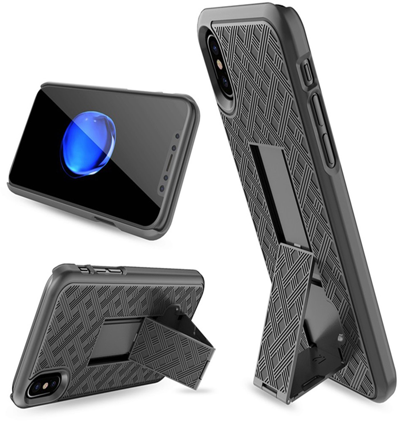 2018//2017 Super Slim Shell Case with Built-in Kickstand Swivel Belt Clip Holster for Apple iPhone X//XS//iPhone 10 iPhone X//XS Holster Case Aduro Combo Shell /& Holster Case