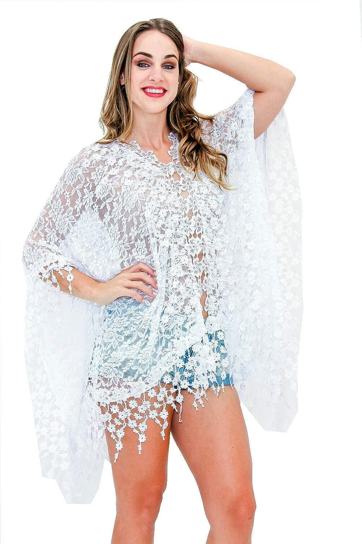 La Moda Clothing White Poncho-Style Front Open Beachwear Style Cover Up by GOGA Swimwear