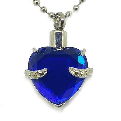 Amazon sapphire blue heart cremation urn necklace jewelry sapphire blue heart cremation urn necklace jewelry memorial keepsake pendant ash holder aloadofball Images