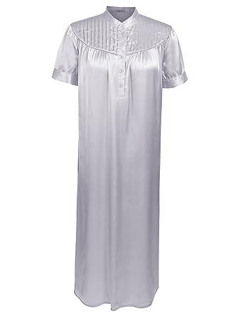 Ekouaer Women Long Nightgown Sexy Nightgown Short Sleeve Nightware Grey S 44fdbcb1d