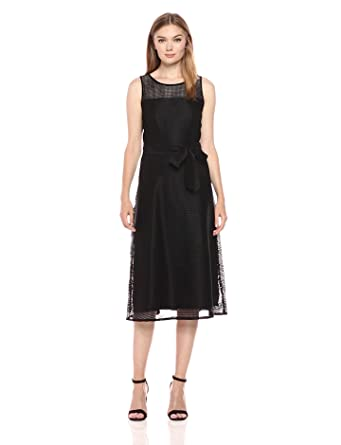de69f5a0e001 Nine West Women's Square Net Mesh a-Line Midi Dress with Yoke, Black,
