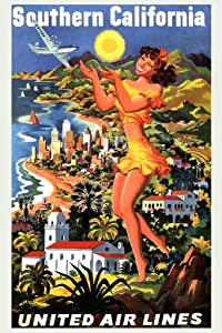 Southern California United Air Lines Airlines Illustrated Vintage Travel Cool Wall Decor Art Print Poster 24x36