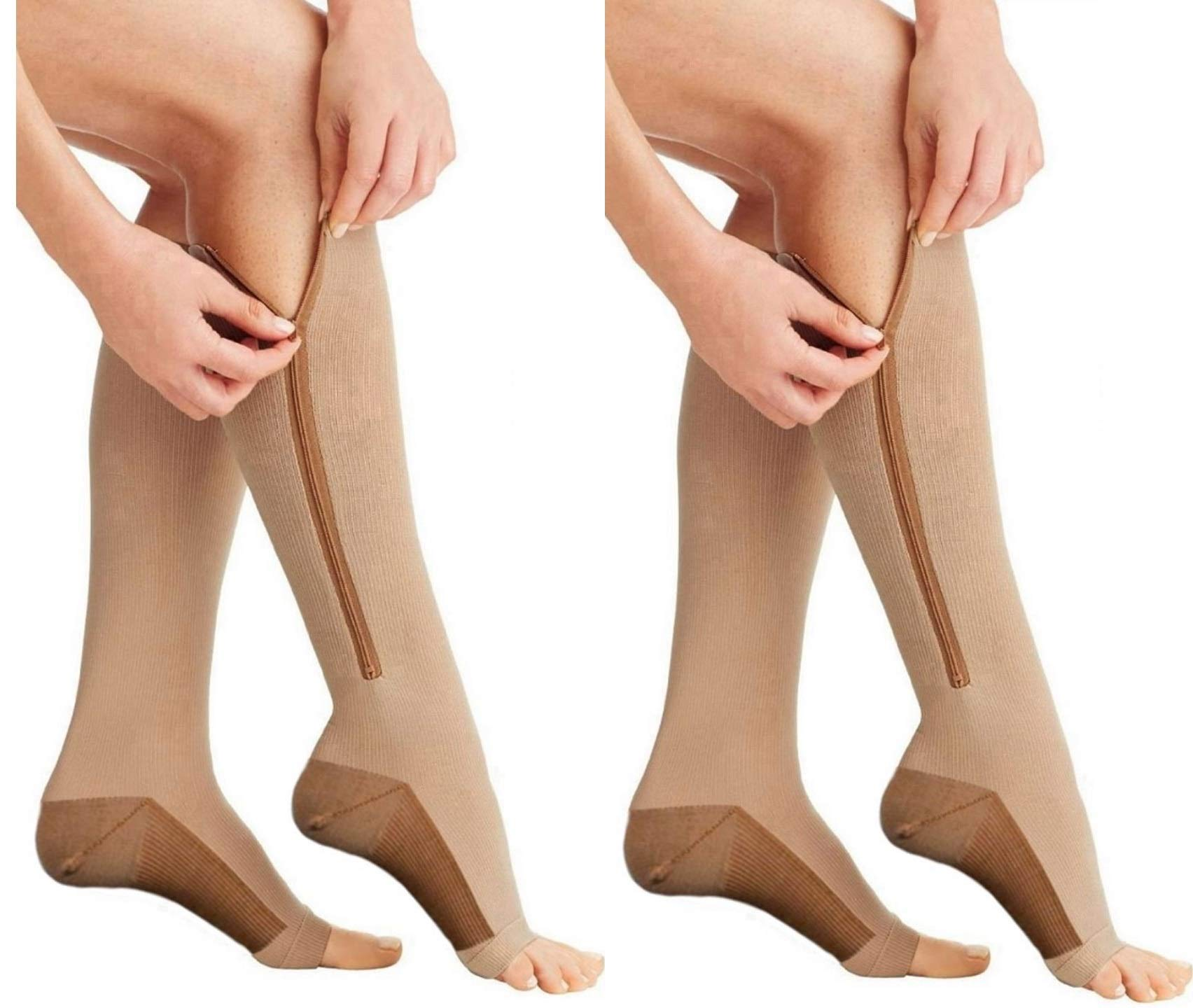 (ZipBeige/Cu, XXL, 2Pr) Zipper Compression Socks - Premium Design for Men and Women Everyday Use Running Pregnancy Flight & Travel Nursing Best Athletic Fit - Boost Stamina Circulation & Recovery by DevsWear (Image #1)