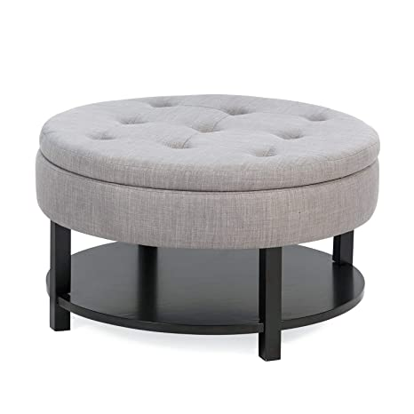Superb Amazon Com Contemporary Gray Tufted Round Cocktail Ottoman Dailytribune Chair Design For Home Dailytribuneorg