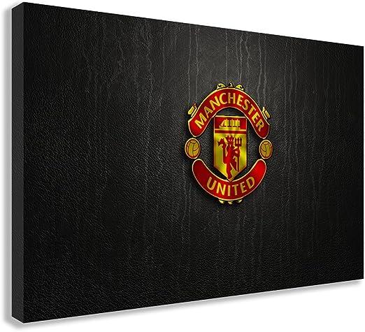 Framed Manchester United Black /& White Crest Poster New