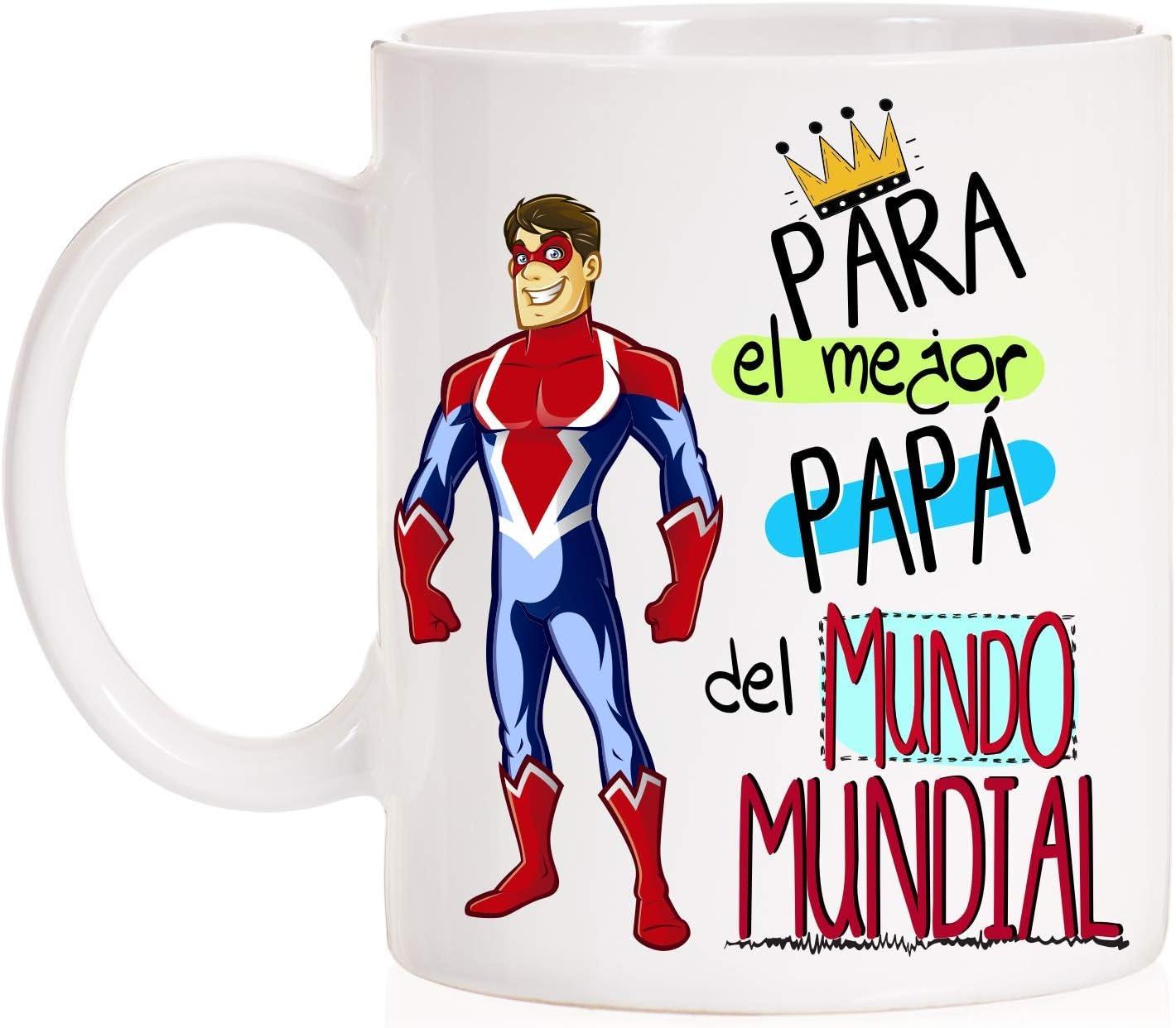 MardeTé Taza para el Mejor Papá del Mundo Mundial. Taza Regalo día del Padre Divertida con Caja Decorativa de Regalo.