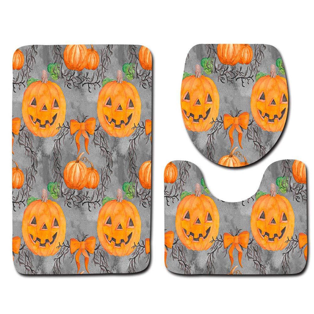 Loneflash Toilet Mat 3 Piece Set, Halloween Spider Pumpkin Pattern Toilet Seat Cover and Rug Bathroom Set Soft Non-Slip Washroom Carpet Contour Mat Halloween Decor (A)