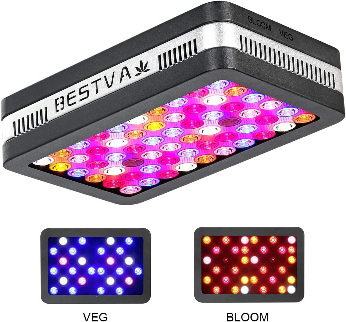 BESTVA Reflector Series 600W LED Grow Light Full Spectrum Grow Lamp for Hydroponic Indoor Plants Veg and Flower 2 Dim Infrared Rays