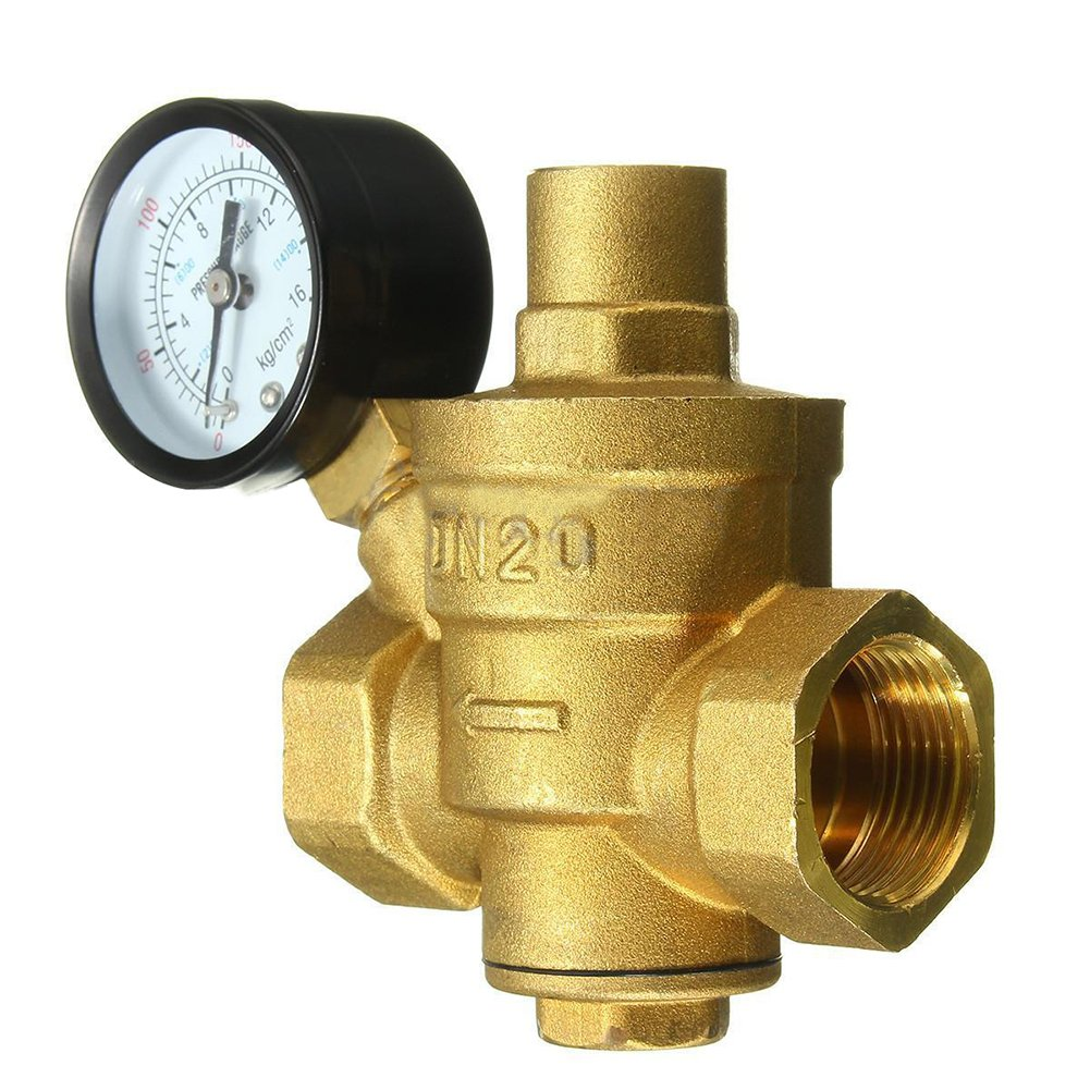 SODIAL(R) 3/4 inch DN20 Adjustable Bspp Brass Water Pressure Reducing Valve With Pressure gauge by SODIAL(R)