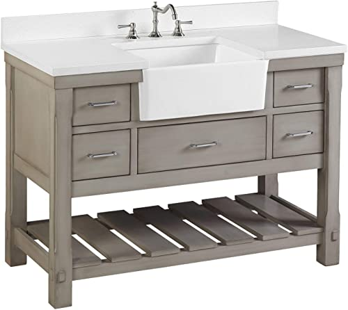 Charlotte 48-inch Bathroom Vanity Quartz/Weathered Gray : Includes Weathered Gray Cabinet