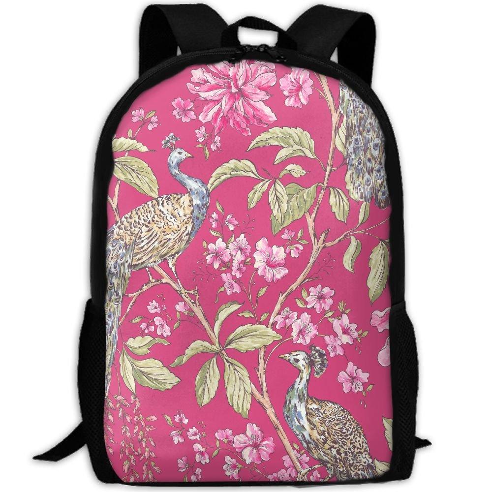 OIlXKV Pink Peacock Print Custom Casual School Bag Backpack Multipurpose Travel Daypack For Adult