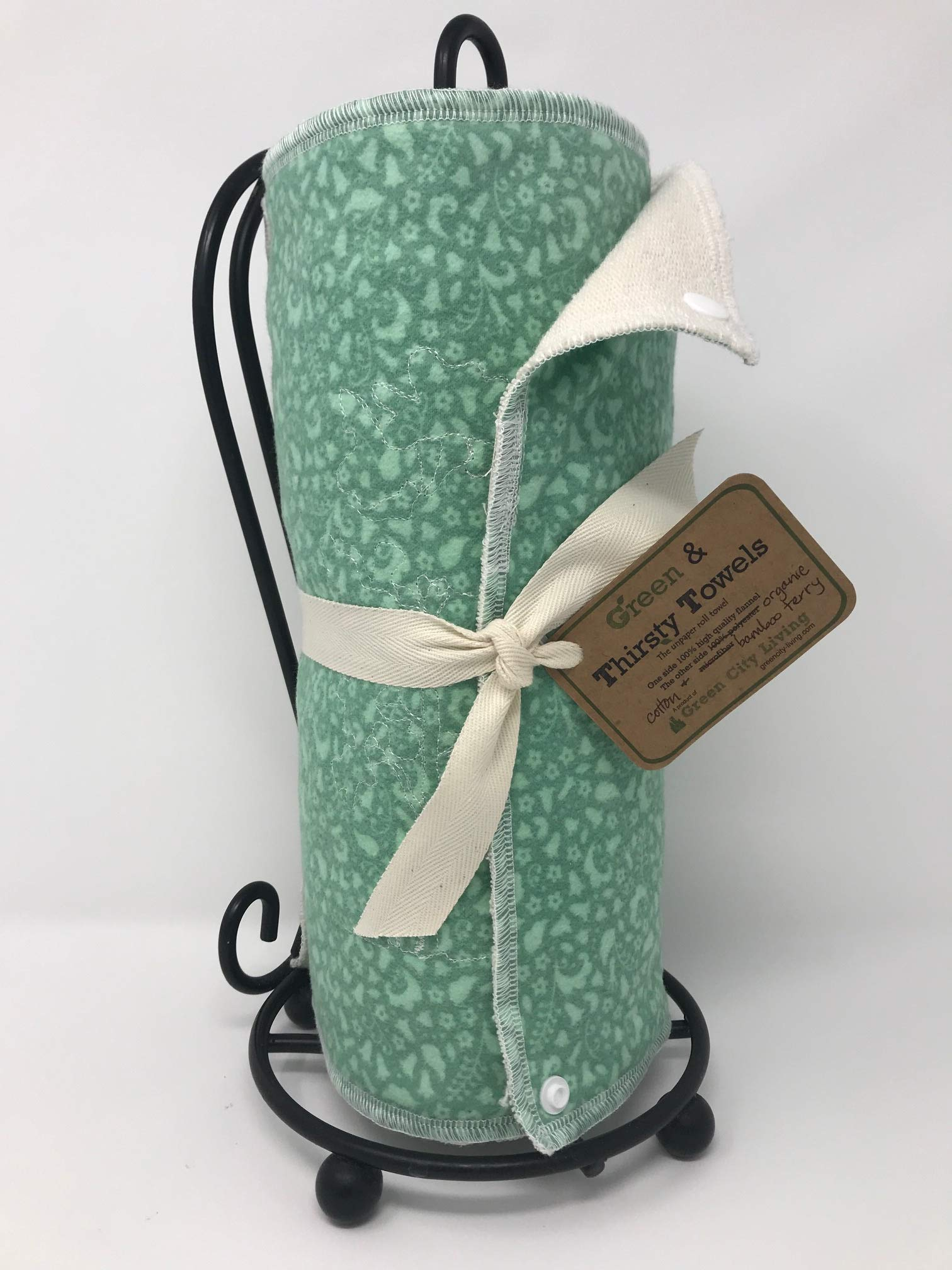 Green & Thirsty Unpaper Towels: MINT MEADOW Organic Cotton & Bamboo by GreenCityLiving