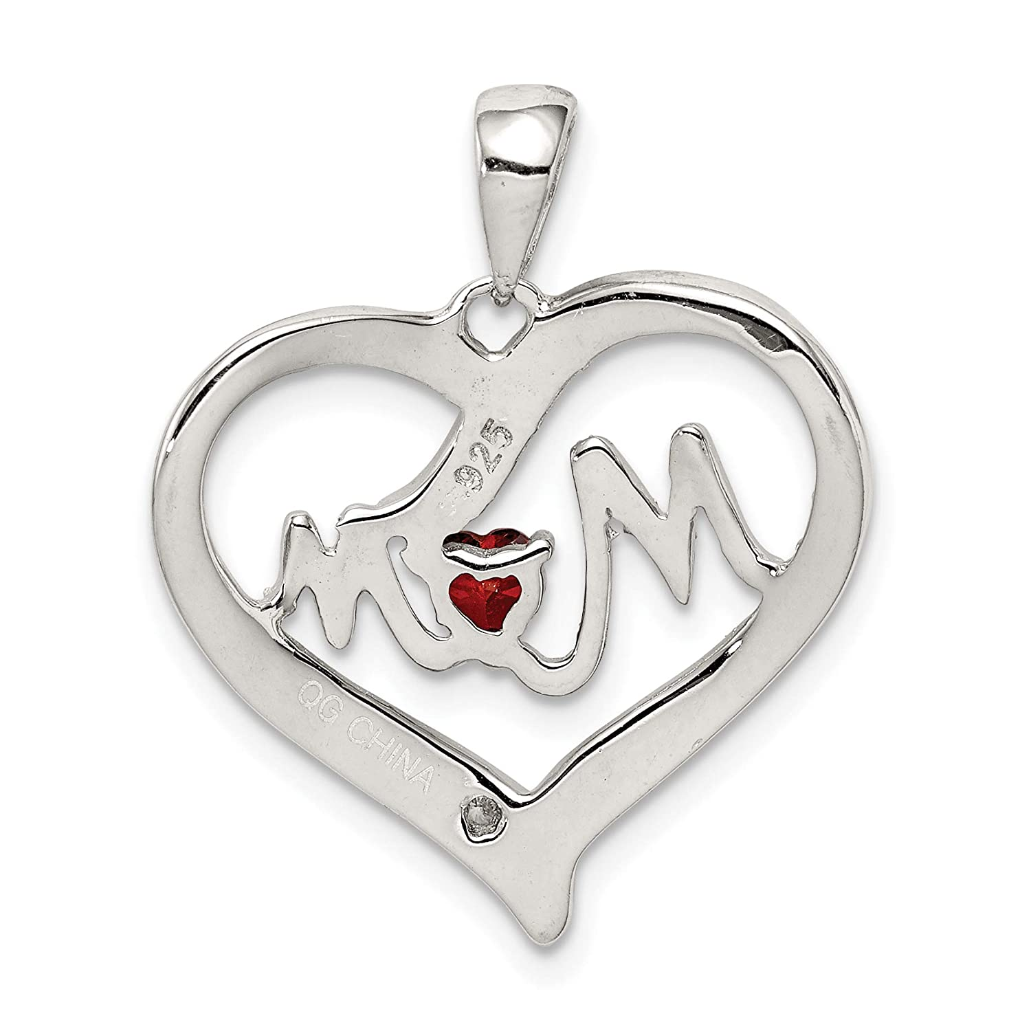 approximately 22 x 21 mm Mireval Sterling Silver CZ Mom Heart Pendant