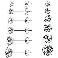 LNIEER 6 Pairs Stud Earrings Set, Hypoallergenic Women's 316L Stainless Steel Round Clear Cubic Zirconia Stud Earring 3…