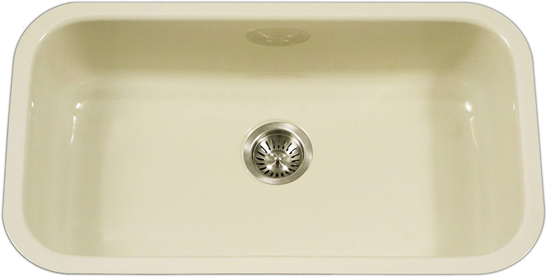 Houzer PCG-3600 BQ Porcela Series Porcelain Enamel Steel Undermount Single Bowl Kitchen Sink, Large, Biscuit