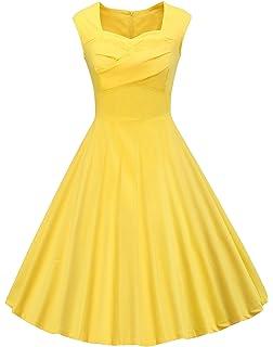 ed015561014a VOGVOG Women's 1950s Retro Vintage Cap Sleeve Cocktail Party Swing Dress