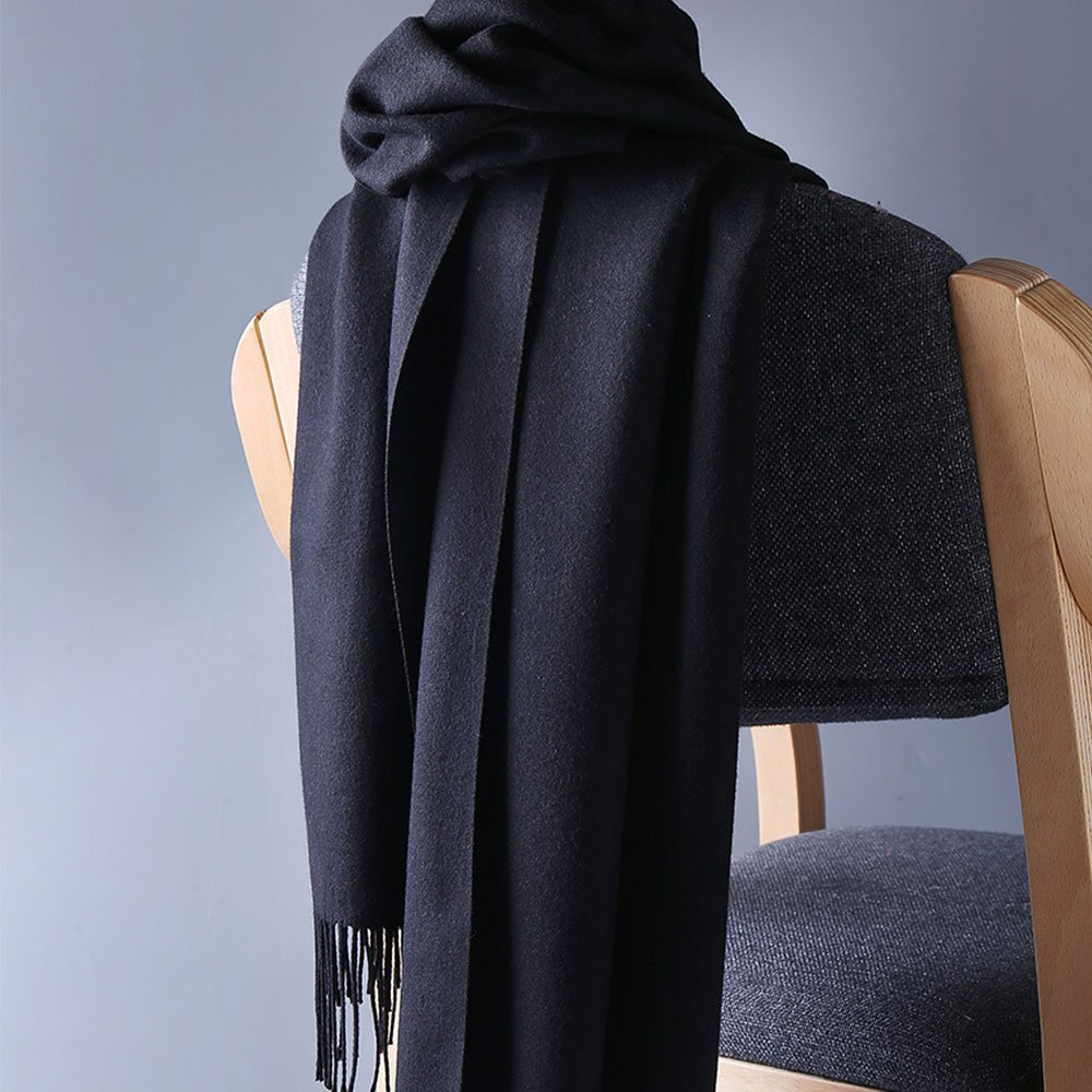 Womens Pashmina Shawl Wrap Scarf - Ohayomi Solid Color Cashmere Stole Extra Large 78''x28'' (Black) by OHAYOMI (Image #4)