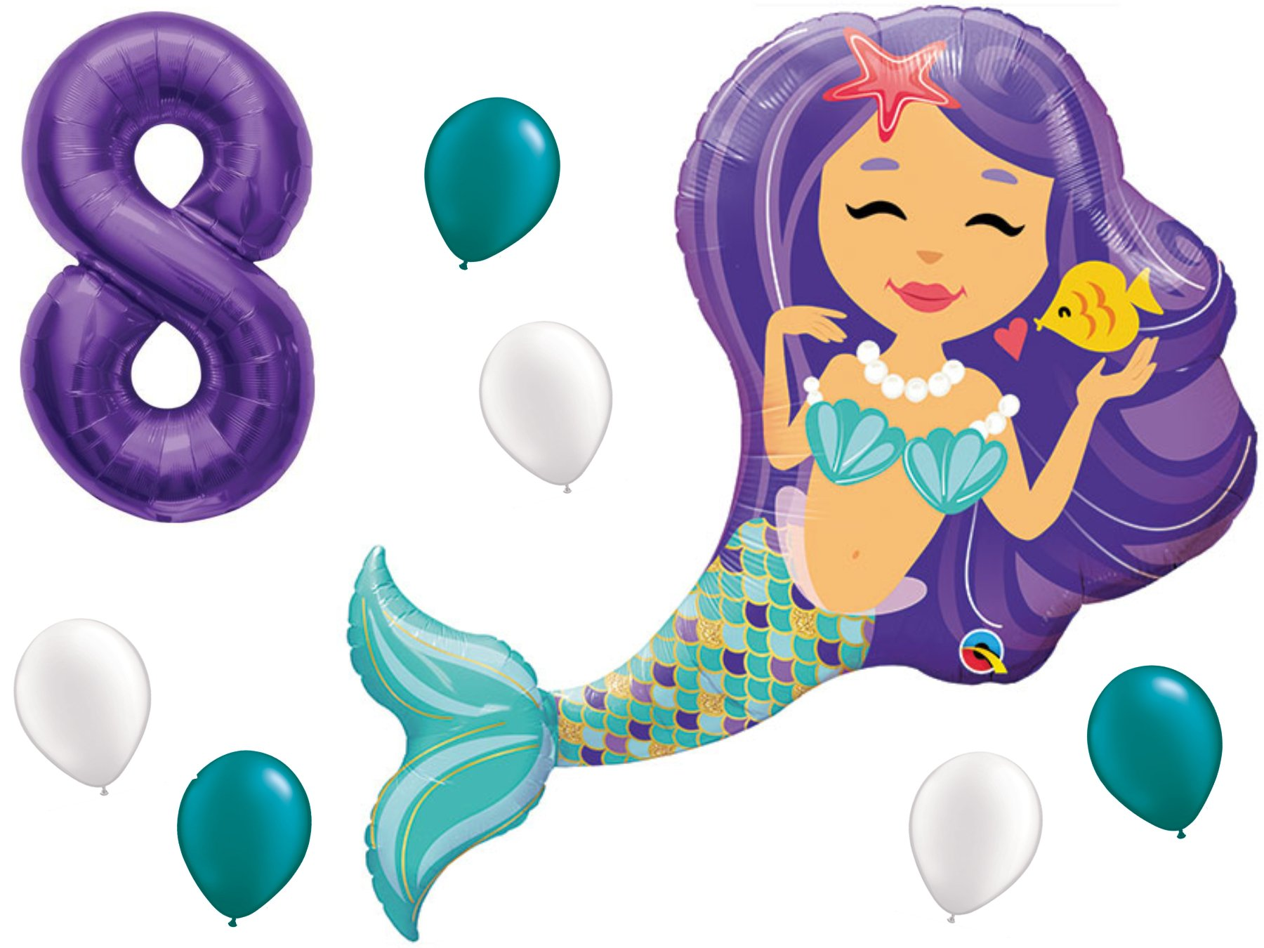Mermaid Birthday Balloon Party Supply Set with #1-9 Number Bundle: 38'' Enchanted Mermaid with (1) 40'' Purple Number of Choice & (3 Each) White & Teal Latex Party Balloons. by PartyBox! (8th Birthday) by PartyBox!
