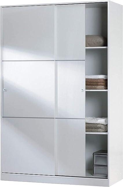 Armario 2 Puertas Correderas y Estantes, para Dormitorio o Habitacion, Modelo MAX, Acabado en Blanco Brillo, Medidas: 120 cm (Largo) x 200 cm (Alto) x ...