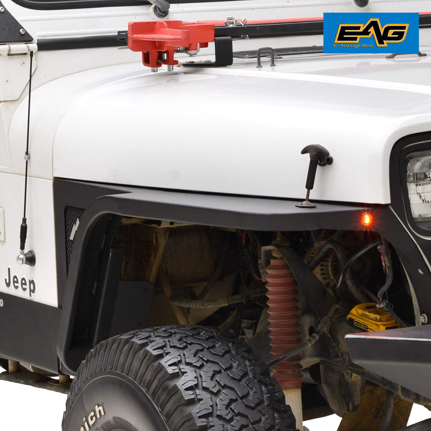 EAG Front Fender with Flair and LED Eagle Lights for 87-96 Jeep Wrangler YJ