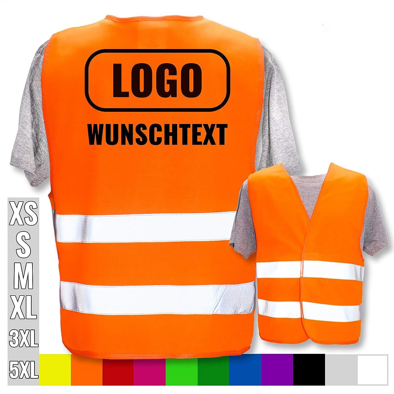 Front//Premium-Druck Position /& Druckart:R/ücken Farbe /& Gr/ö/ße:Violett//Gr/ö/ße M//L Warnweste mit eigenem Aufdruck selbst gestalten * Bedruckt mit Name Text Bild Logo Firma